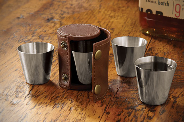 Leather Travel Case Shot Glasses