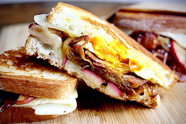 Bacon Egg Grilled Cheese with Caramelized Onions Apples