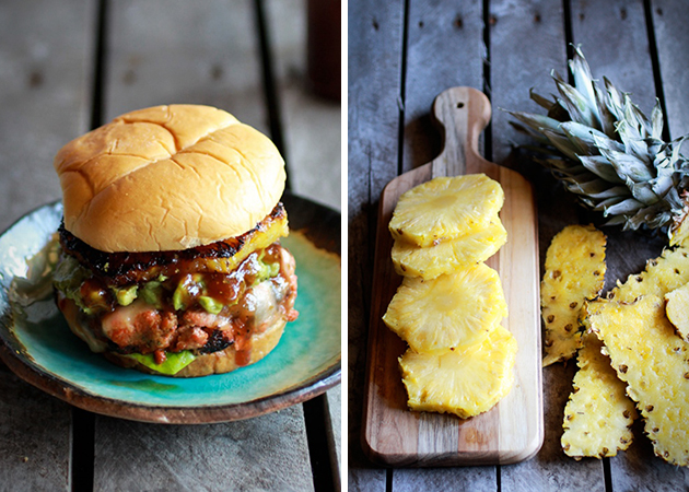 Hawaiian BBQ Salmon Burger with Coconut Caramelized Pineapple 1