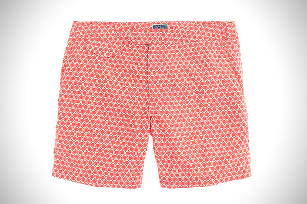 J Crew Vibrant Red Tab Swim Shorts