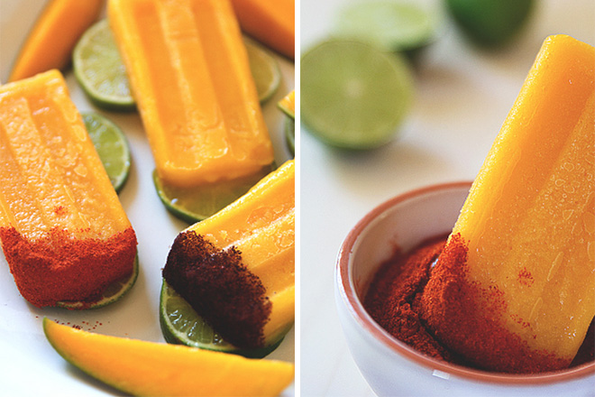 Tequila-Spiked Mango Popsicles with Chile