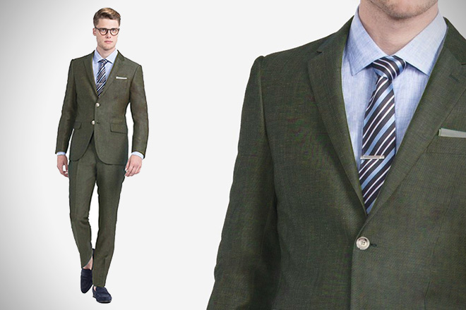 Indochino Olive Linen Suit