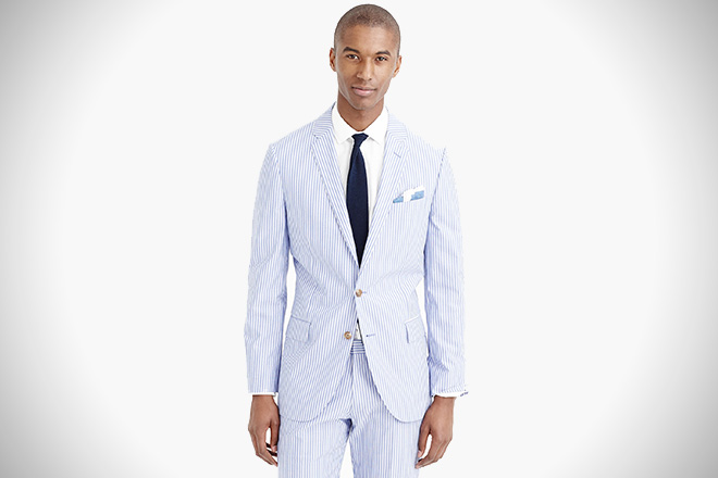 J. Crew Engineer-Striped Cotton Ludlow Suit