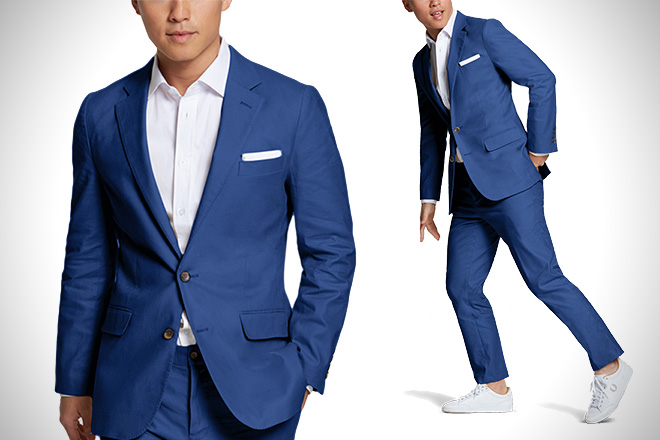 Suitable Blue Linen Suit