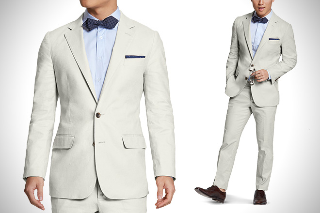 Suitable White Linen Suit