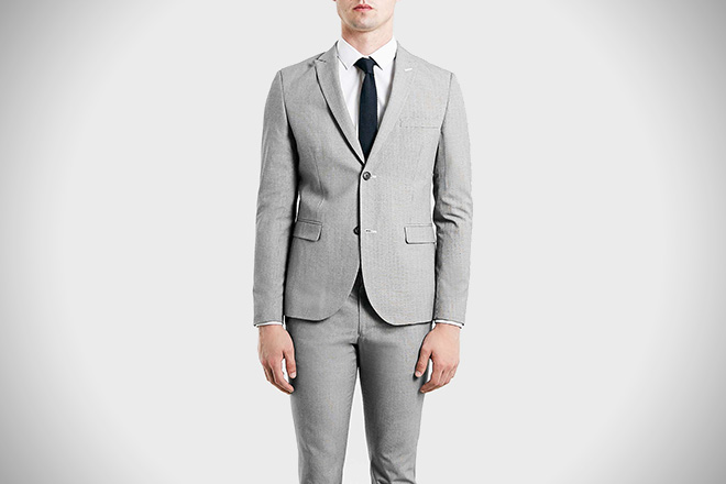 Top Man Black and White Puppytooth Suit
