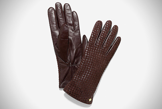 Cole Haan Lambskin Braided Leather Gloves