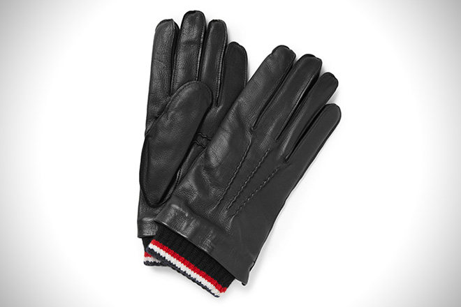Thom Browne Cashmere-Trimmed Leather Gloves