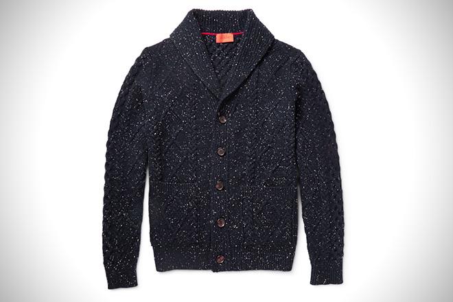 ISAIA Shawl-Collar Cable-Knit Cardigan