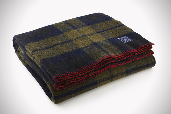 Faribault Woolen Mill Co. Foot Soldier Military Shadow Plaid Wool Blanket