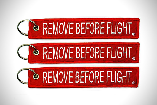 Remove Before Flight Red Key Chain