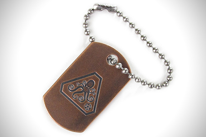 Steel Flame Copper Dog Tag