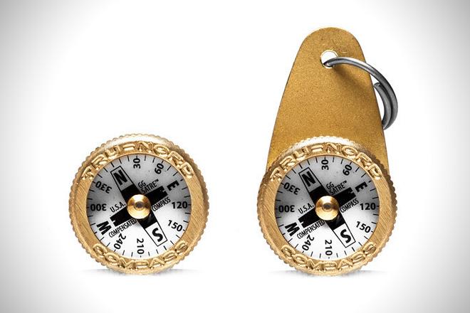 Brass Key Ring Compass