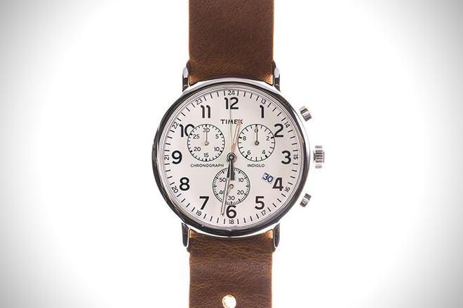 Leather Timex Chrono White