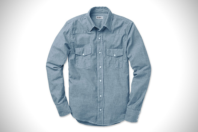 37f8397cd3 Buck Mason Bleached Indigo Pearl Snap. Created to mirror the similarly  constructed western-style shirts ...