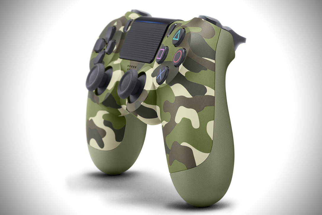 Playstation DualShock 4 Green Camouflage Controller 1