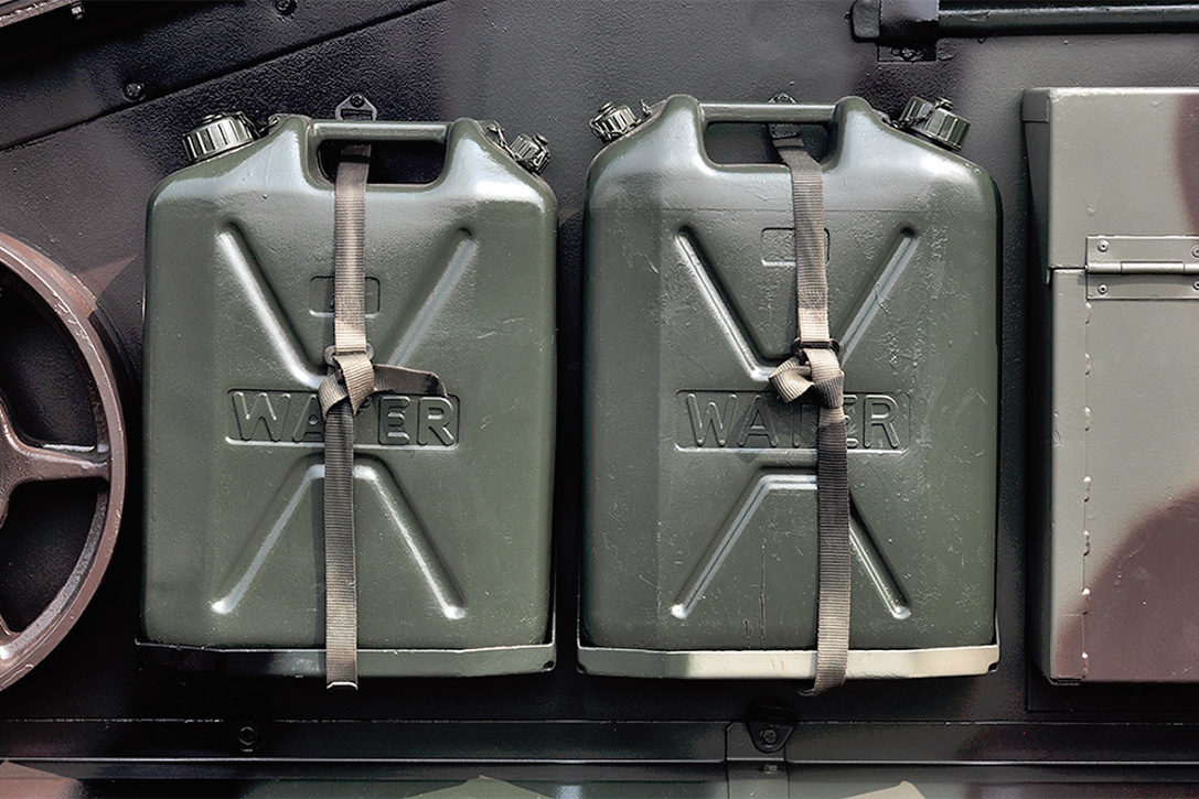 2 LOT NATO Jerry Can Spout Gas Fuel Army Military Metal Steel Tank Diesel Black
