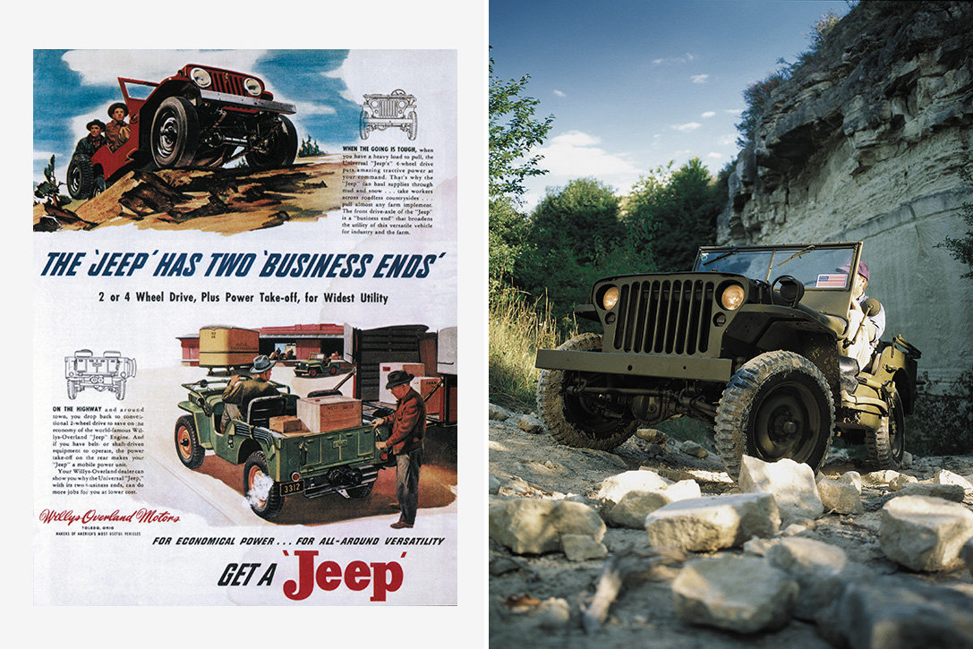 Circa 1960 Jeep with Models at Car Show Willys Jeep New Metal Sign
