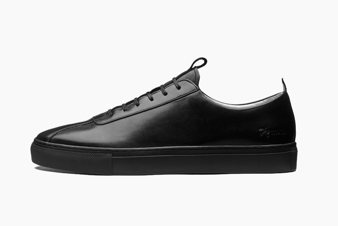 all leather black tennis shoes