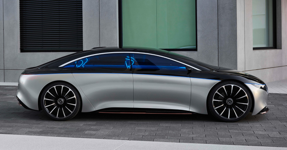 The Mercedes-Benz Vision EQS Is A Vibrant 469HP All-Electric Ride