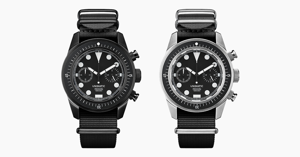 Unimatic's Stealthy Chronographs Can Withstand Diving Depths Of 1,000Ft