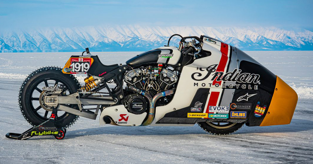 This Carbide-Studded, NOS-Breathing Indian Scout Is The Ultimate V-Twin Ice Racer