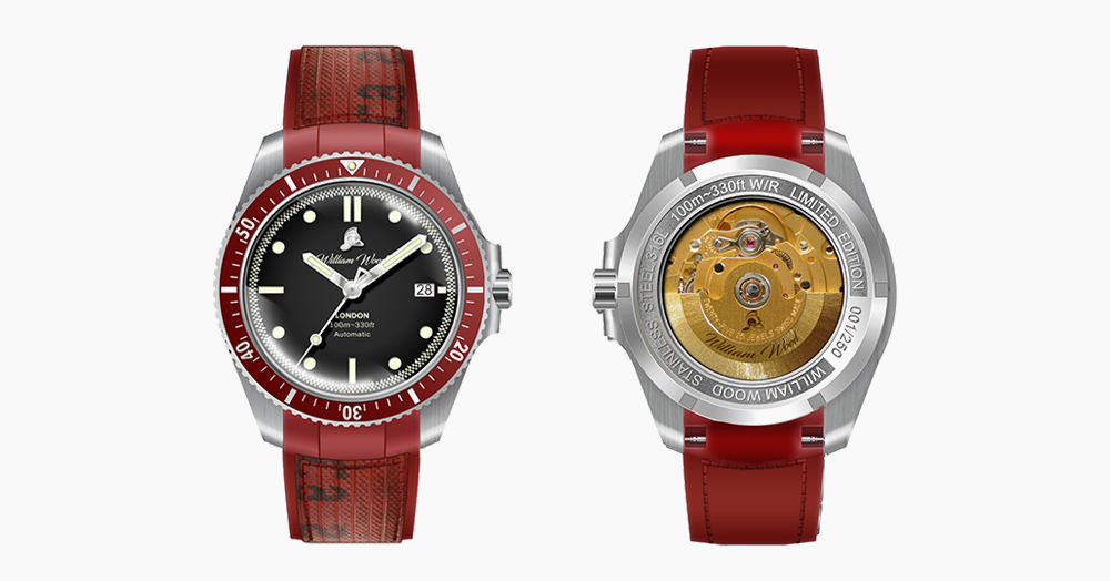 William Wood Crafts The Valiant Collection Red Watch From Upcycled Fire Hose